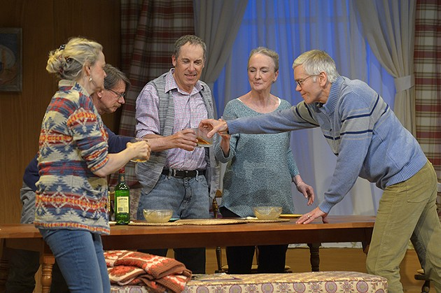 (l to r) Ellen McLaughlin (Wendy), Keith Reddin (Michael), David Chandler (Jim), Kathleen Chalfant (Ann), and Charles Shaw Robinson (John) in Sarah Ruhl's For Peter Pan on her 70th birthday at Berkeley Rep. - KEVIN BERNE/BERKELEY REPERTORY THEATRE