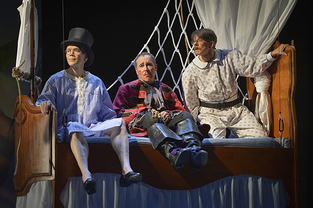 (l to r) Charles Shaw Robinson (John), David Chandler (Jim), and Keith Reddin (Michael) in Sarah Ruhl's For Peter Pan on her 70th birthday at Berkeley Rep. - KEVIN BERNE/BERKELEY REPERTORY THEATRE
