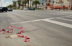 The intersection of Harmon and Las Vegas Blvd., in Las Vegas, where Tupac was shot on September 7, 1996. - AP PHOTO/JACK DEMPSEY