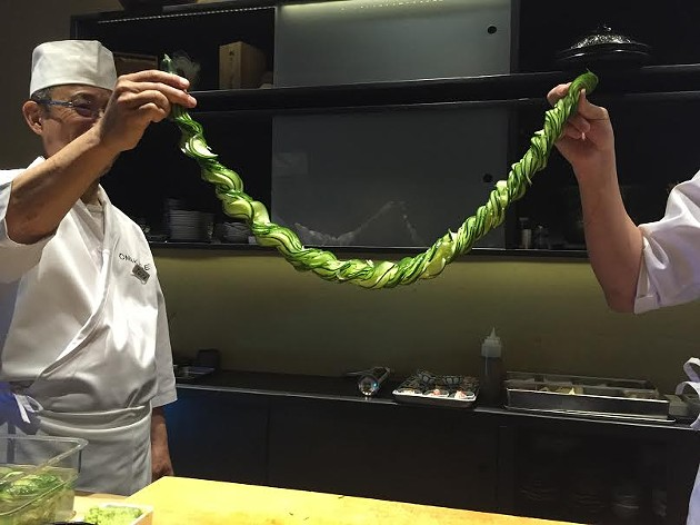 Watching Chef Jackson Yu of Omakase slice a cucumber so that it expands like a veritable cucurbit lei is a mesmerizing sight. - PETER LAWRENCE KANE