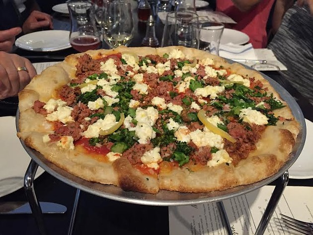 A Calabrian sausage, broccolini, and ricotta pizza at Tratto - PETER LAWRENCE KANE