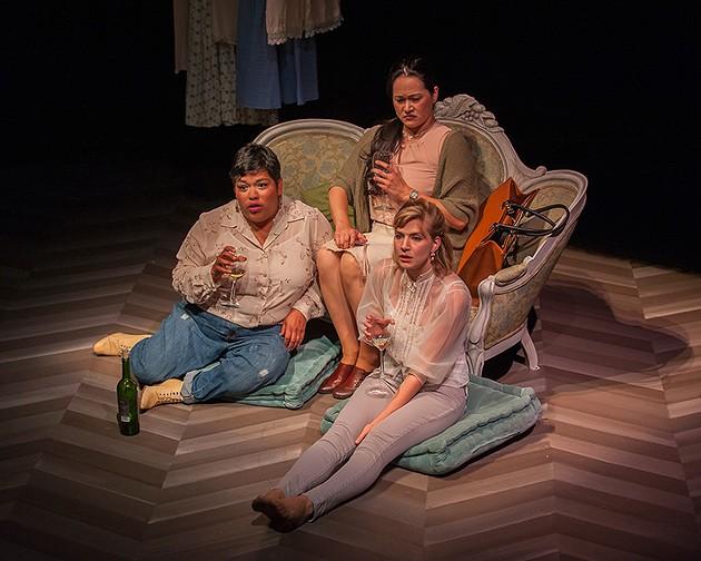 Old friends Mehr (Amy Lizardo), Julia (Karen Offereins) and Ana (Sarah Moser) catch up. - KEN LEVIN