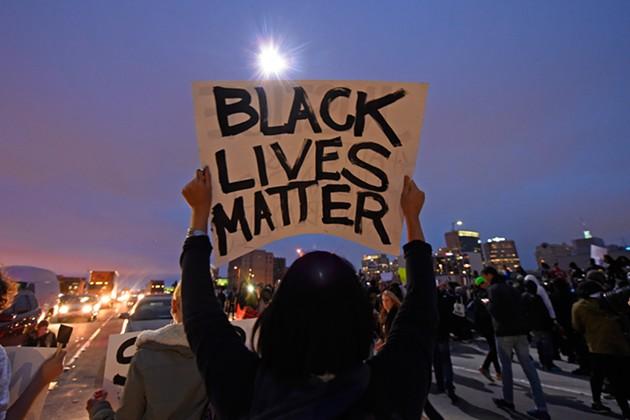 Demonstrators block traffic along I-880 in Oakland on Thursday. - JOSE CARLOS FAJARDO/SAN JOSE MERCURY NEWS VIA AP