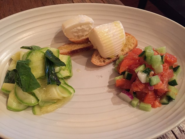 A16's antipasto del giorno: shellfish salad, house-cured San Francisco anchovy, smoked burrata - PETER LAWRENCE KANE