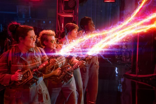 The Ghostbusters Abby (Melissa McCarthy), Holtzmann (Kate McKinnon), Erin (Kristen Wiig) and Patty (Leslie Jones) in Columbia Pictures' GHOSTBUSTERS. - HOPPER STONE - © 2016 CTMG, INC.