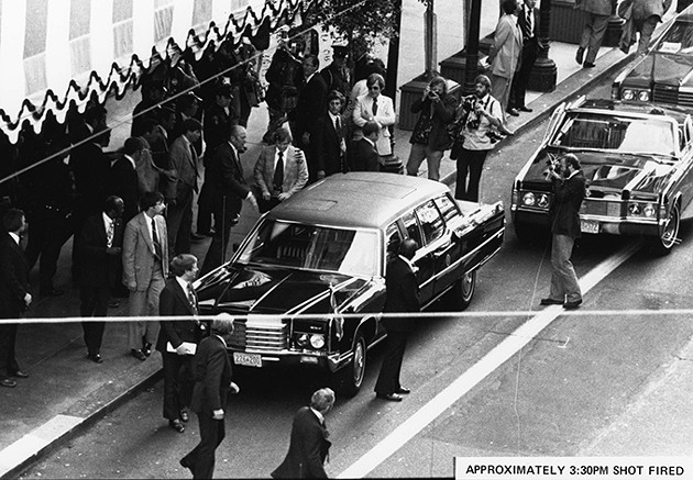 Shots ring out as President Gerald Ford emerges from the St. Francis Hotel. - GERALD R. FORD LIBRARY AND MUSEUM