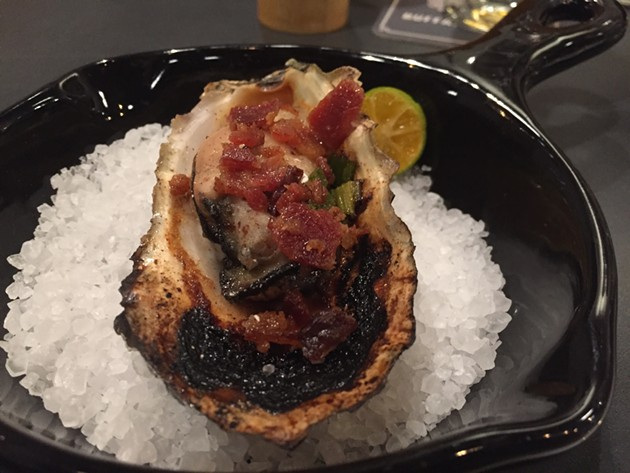 The BBQ Oyster (with bacon-scallion confit and five spice) at the forthcoming Buffalo Theory on Polk St. - PETER LAWRENCE KANE