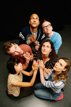 Counter Clockwise: Gillian Jacobs (Samantha), Tami Sagher (Lindsay), Chris Gethard (Bill), Keegan-Michael Key (Jack), Mike Birbiglia (Miles), Kate Micucci (Allison) in Mike Birbiglia's Don't Think Twice. - COURTESY OF JON PACK