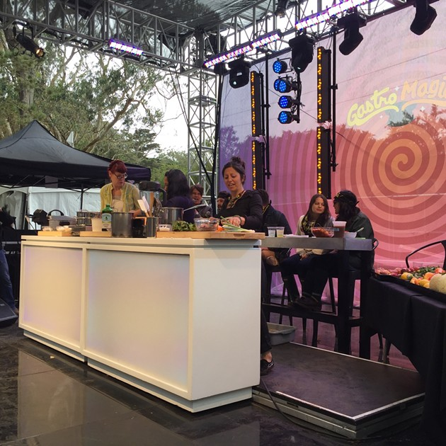 Michelle Polzine (20th Century Kitchen), Sophina Uong (Calavera), and Cortney Burns (Bar Tartine) battle it out on the GastroMagic stage at CUESA's Trash Talk. - PETER LAWRENCE KANE
