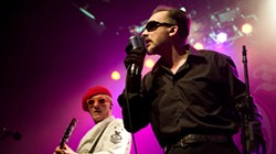 REX FEATURES VIA AP IMAGES - The Damned - Dave Vanian and Captain Sensible performing at the Scotland Calling Punk Festival