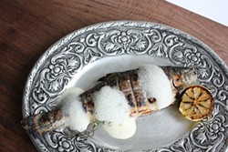 KEVIN KELLEHER - Whole rainbow trout with cider sabayon.