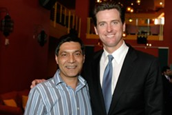 LUKE THOMAS - Gus Murad (left) with then-Mayor Gavin Newsom at Medjool.
