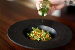 """EMMA CHIANG - Smoked sablefish """"cioppino"""" broth with angel hair pasta, parsley juice, and Penn Cove mussels."""