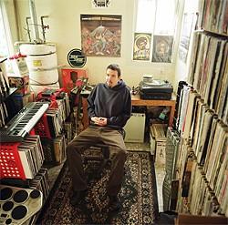 Unagi in his vinyl lair.