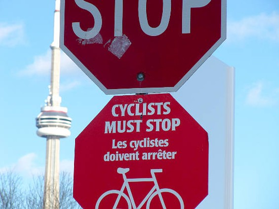 UPDATE: We now know this sign is in Toronto. We wonder whether things are any different there? - JAMES D. SCHWARTZ / FLICKR