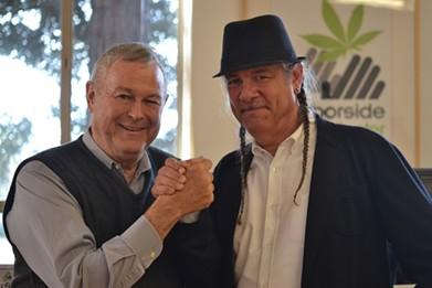 U.S. Rep. Dana Rohrabacher (left) is on board with dispensary operator Steve DeAngelo (right). - HARBORSIDE HEALTH CENTER
