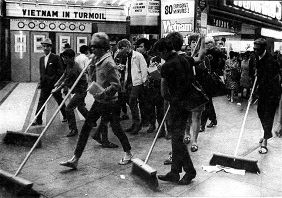 Vanguard youth protest police sweeps by sweeping the streets of the Tenderloin (1966). - GLBT HISTORICAL SOCIETY