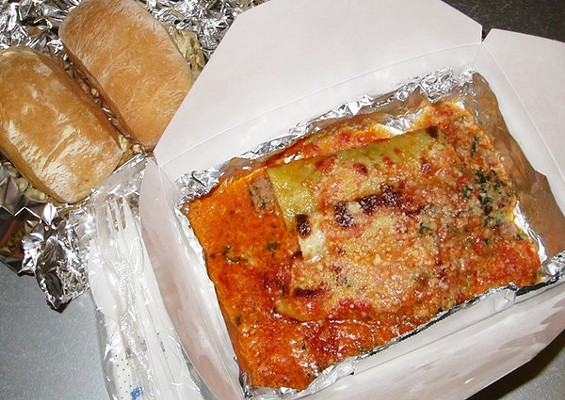 Veal cannelloni with bechamel and tomato sauces, $12.95, a recent special. - LUIS CHONG