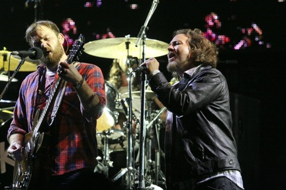 Vedder and Followill onstage at OpenWorld - CHRISTOPHER VICTORIO