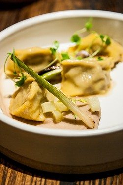 """Venison agnolotti with chestnut, apple, and alliums from the """"Flavors of Winter"""" dinner - THE DAPPER DINER"""