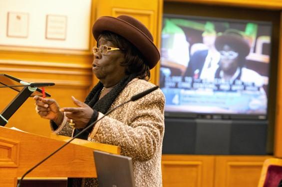 Veteran Bayview-Hunters Point activist Espanola Jackson speaks out against the Guardian project