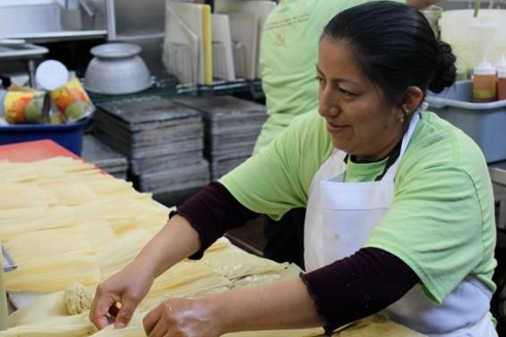 Victoria Castañon, en employee of Alicia's Tamales los Mayas - ALEXIS KATSILOMETES