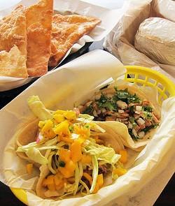 Vincent Schofield's tacos at Taco Libre. - LUIS CHONG