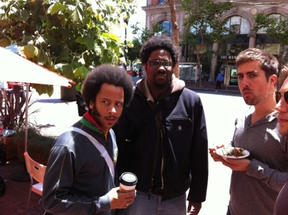 W. Kamau Bell (middle) and Boots Riley (left) on the lookout for apologies. - W. KAMAU BELL