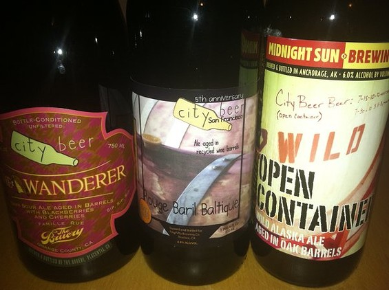 Wanderer, Rouge Baril Baltique, and Open Container, all brewed to mark City Beer Store's fifth anniversary. - JASON HENRY