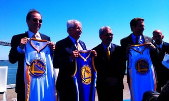 Warriors co-owners Joe Lacob (left) and Peter Guber bookend NBA Commissioner David Stern and Mayor Ed Lee.