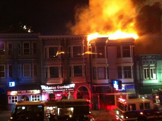 Wednesday night's fire at 3212 Mission (at 29th St.) left extensive damage at Lotus Garden. - SFIST