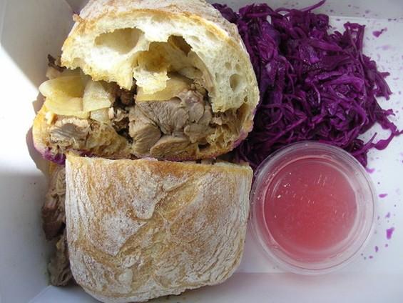 "Wexler's ""Pulled"" Lamb Sandwich. - JOHN BIRDSALL"