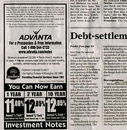 When most banks are offering 2 percent interest, Advanta offered 11 percent or more.