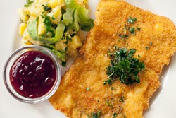 LARA HATA - Wiener schnitzel light: the golden cutlet is thinner than most.