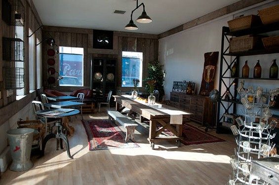 William Werner's temporary holiday cafe in Potrero Hill's Big Daddy's antique shop will stick around a few weeks more. - GIL RIEGO JR.