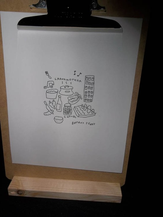 ARTIST JASON POLAN SKETCHED ALL THE ACTS, INCLUDING BRYANT TERRY'S RECIPE FOR MUSTARD GREENS.