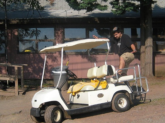 Yes, the Wiki Commons photo for 'Ghost Riding the Whip' features an Orthodox Jew 'ghosting' on a golf cart - YONKELTRON