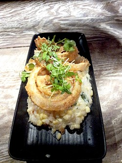 PETE KANE - Yes, those are onion rings on top of the sweet corn risotto.