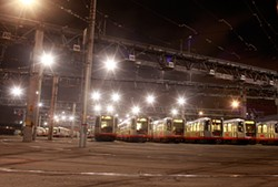 MIKE HENDRICKSON - You can read your watch by the lit trains at the Muni Metro East Facility. It was getting on 3 a.m.