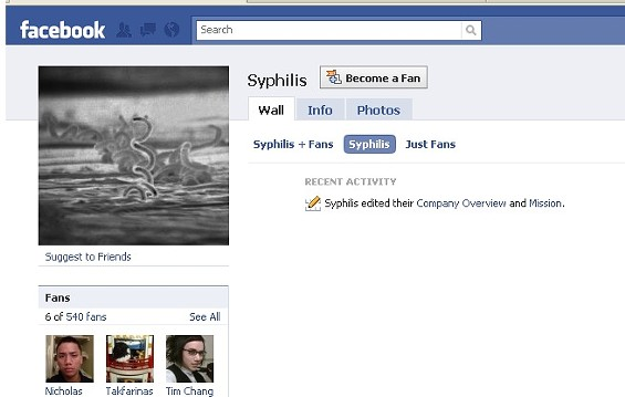 You don't even have to leave the Internet to find syphilis on Facebook...