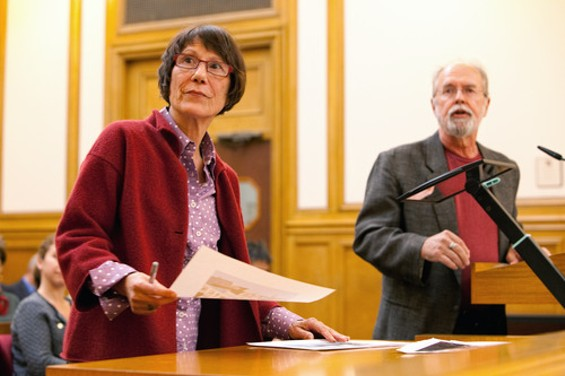 Yvonne Gavre (left), a neighbor of the Guardian, has led the charge against Brugmann's cellular project