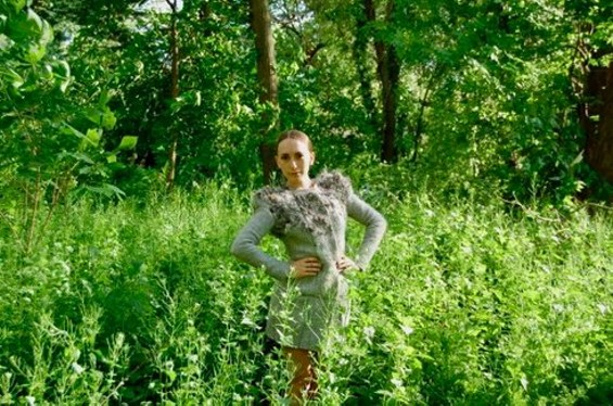 Zoe Alexander Fisher's Biomimicry Project coat is covered in veggie seeds.
