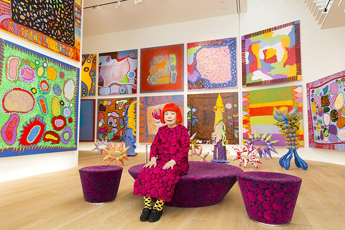 Kusama in Tokyo with the new stuff.