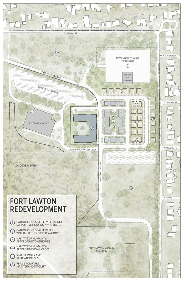 This map shows where the city proposes putting several types of affordable housing at Fort Lawton. Click to enlarge.