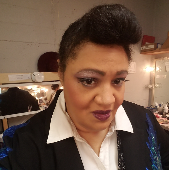 My homage to Janelle Monae, Rebecca says about this pic, a selfie taken while she was in costume for As You Like It at Seattle Shakes.
