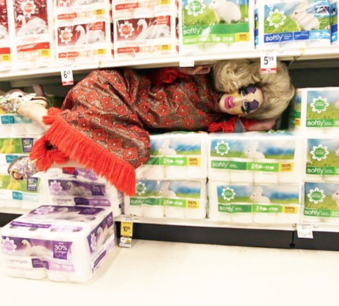 Cherdonna in a grocery store in 2014, when toilet paper aisles were more plentiful.