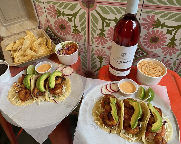 Date idea: Six shrimp tacos and a bottle of Monte Xanic Grenache Rose is $50.