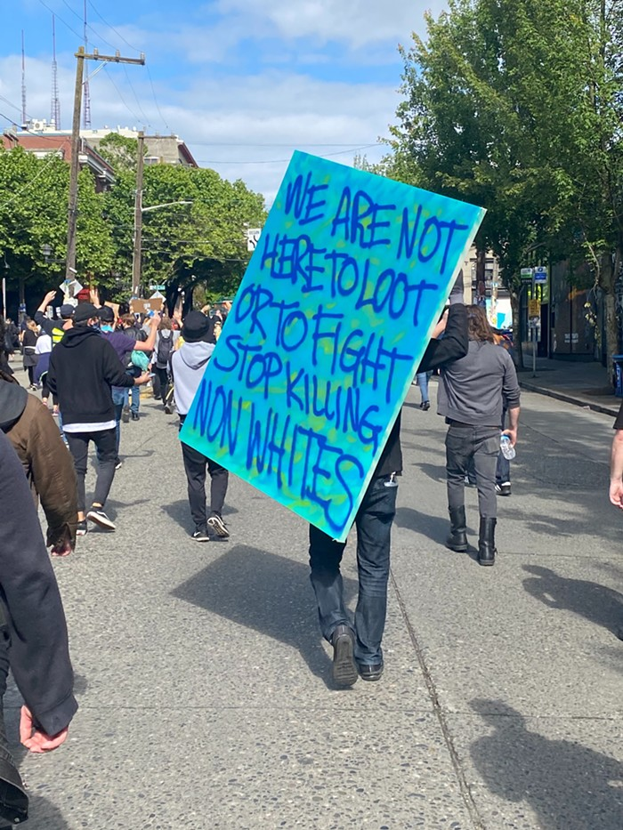 A sign from Sundays protest in Seattle.