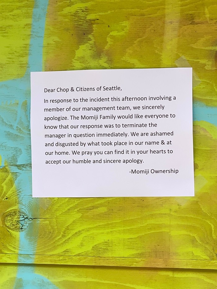 A letter posted by Momiji management outside their location in CHOP.