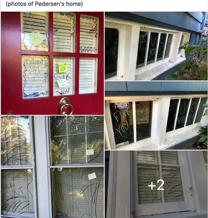 According to a local Facebook group, this is the vandalism at Pedersens house.